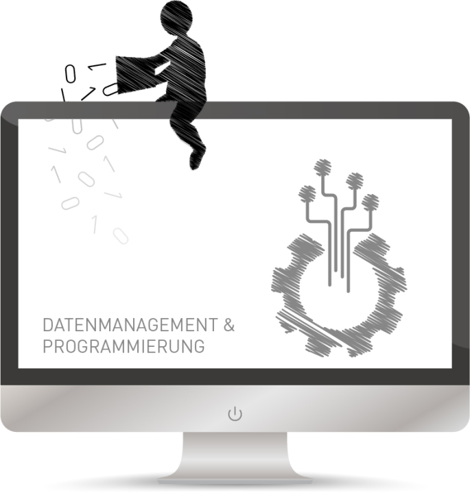 Eine Figur schüttet Einsen und Nullen in den Monitor