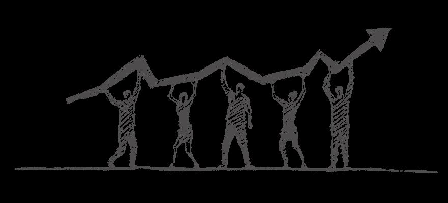Mehrere Figuren halten einen aufsteigenden Bilanzpfeil mit ausgestreckten Armen