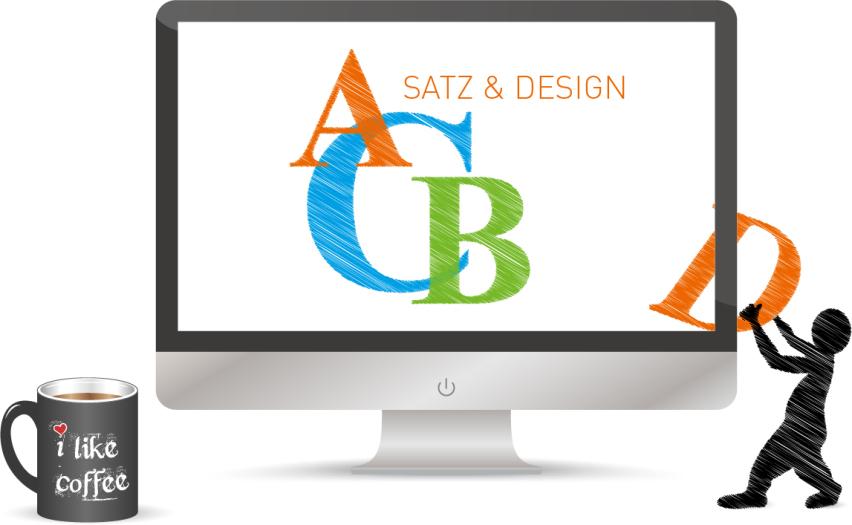 Eine Figur zieht einen Buchstaben aus dem Monitor